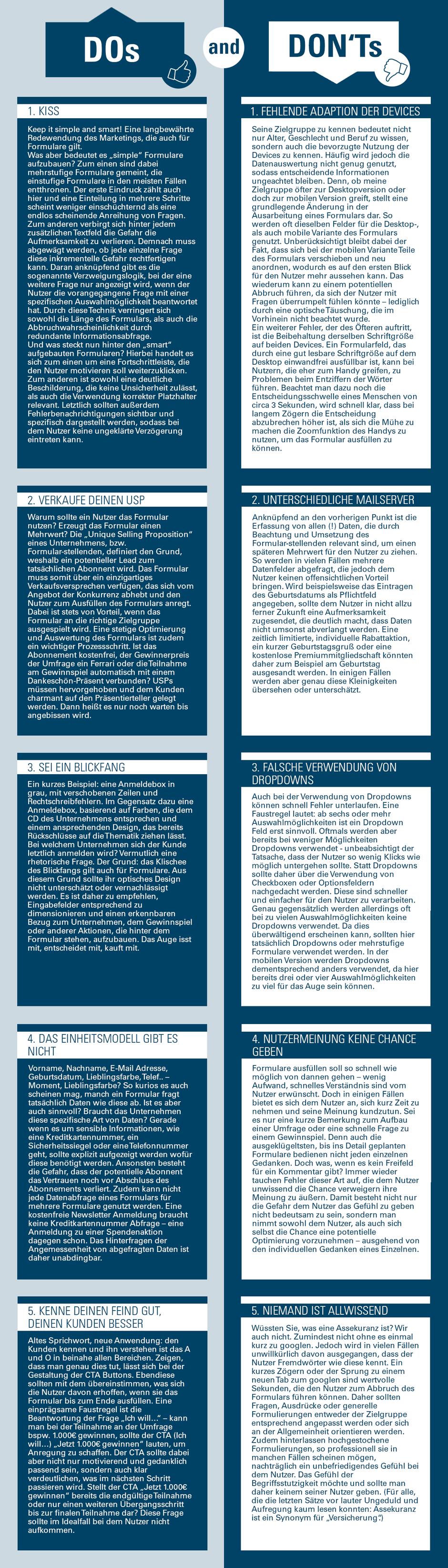 Infografik TIPPS UND TRICKS BEI FORMULAREN